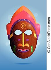 Bright african wooden mask on blue background