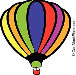 Bright air balloon icon, icon cartoon