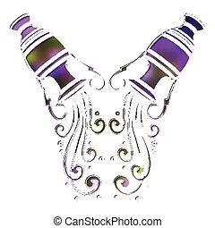 Bright amphora, zodiac Aquarius sign