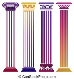 Bright ancient columns set on white background