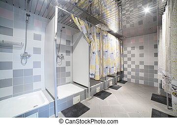 bright and clean european restroom - clean and clear modern...