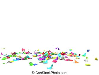 Bright and colorful confetti lying on the floor. Isolated...