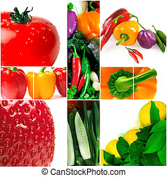 bright and colorful fruit and vegetables on white background
