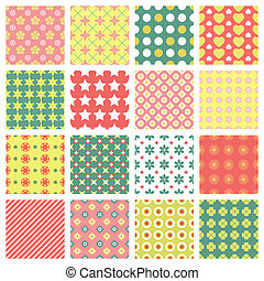 bright and fashionable seamless patterns vector set