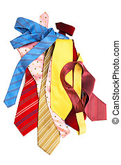 bright and fashionable ties on a white background