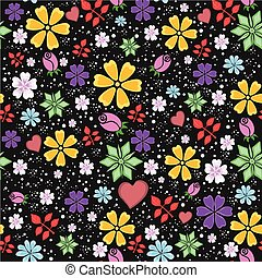 bright and funny seamless floral pattern on black background