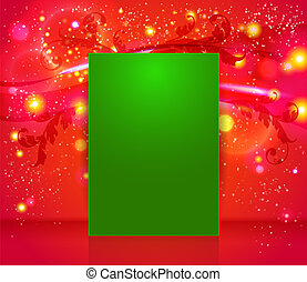 Bright and sparkling Christmas page layout with place for your text. Red abstract background with leafs, glitter, waves. Vector image.