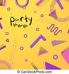 Bright and vivid abstract background template with old style geometric memphis elements.