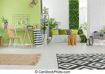 Bright apartment in green and white