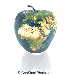 bright apple with earth texture