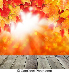 Bright autumn background. Red fall maple leaves and abstract bok