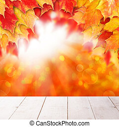 Bright autumn background. Red fall maple leaves and abstract bokeh light with empty white wooden board background