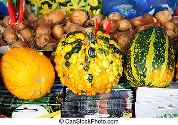 Bright autumn pumpkins at street market, Turkey.