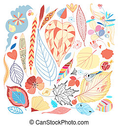 Bright autumn set - Colorful set of autumn leaves and other...
