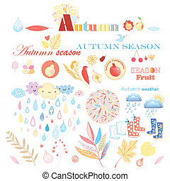 autumn set - bright autumn set with different elements on a...
