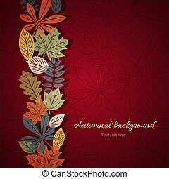 Bright autumn vector background - Vertical ornament of...