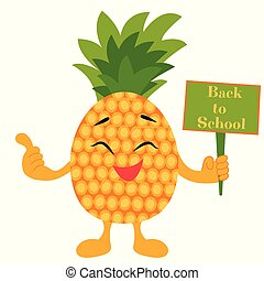 Bright background Back to School with pineapple