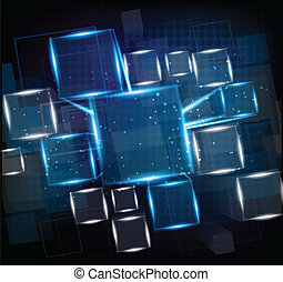 Bright background - Dark blue background with cubes and...