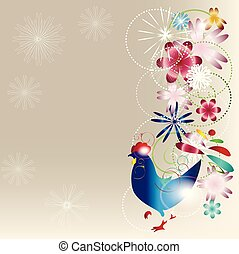 bright background with a cock