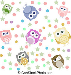 Bright background with cute owls, stars, circles. Seamless pattern