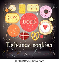 Bright background with different cookies