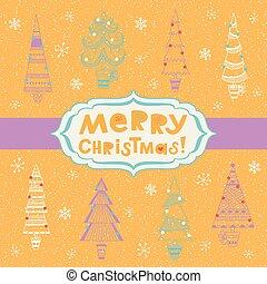 Bright background with fir trees
