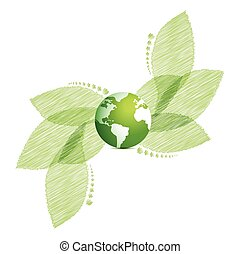 Bright background with green leaves and globe