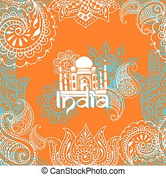 bright background with Indian patte
