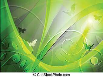 Bright background with leaves and butterflies