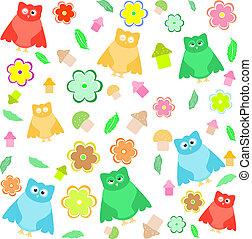 Bright background with owls, leafs
