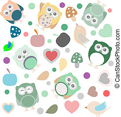 Bright background with owls, leafs, mushrooms and flowers