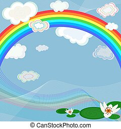 Bright background with rainbow