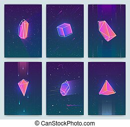 Bright backgrounds with retro futuristic neon space and crystals. Trendy posters of 80s style. vector cards collection.
