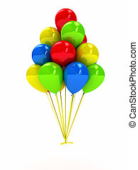 Bright ballons over white. 3d computer generated image