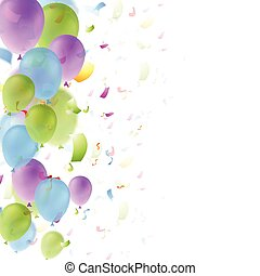 Bright balloons and confetti background