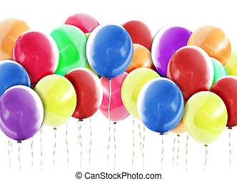 Bright Balloons Background on White