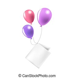 Bright balloons tied to paper note isolated illustration