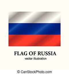 Bright banner with flag of Russia. Vector.
