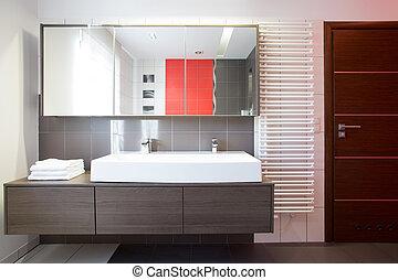 Bright bathroom space