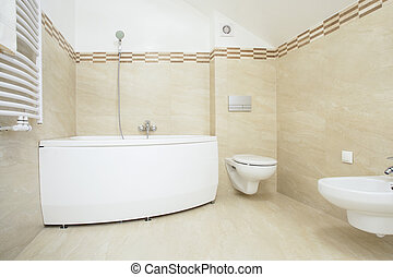 Bright bathroom with bathtub
