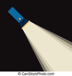 Bright beam of flashlight or pocket torch in darkness. Flat...