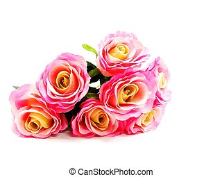 bright beautiful colorful plastic flower bouquet isolated on...