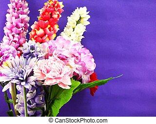 bright beautiful colorful plastic flower bouquet
