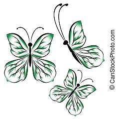 bright beautiful green butterflies on a white background illustration