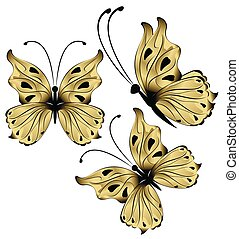 bright beautiful pearl color butterflies on a white background illustration