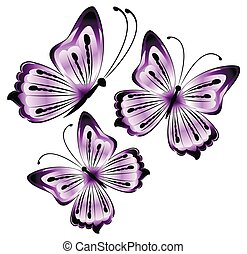 bright beautiful purple butterflies on a white background illustration