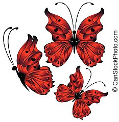 bright beautiful red butterflies on a white background illustration