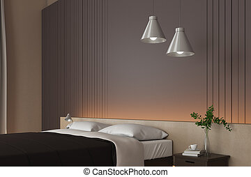 Bright bedroom with bed