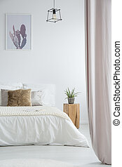 Bright bedroom with pink curtains