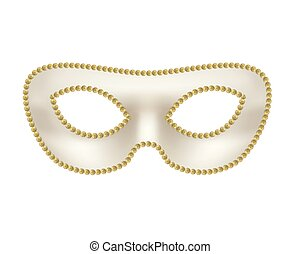 Bright beige masquerade mask with golden border on white
